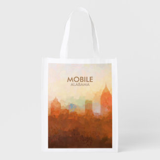 Mobile, Alabama Skyline IN CLOUDS Grocery Bag