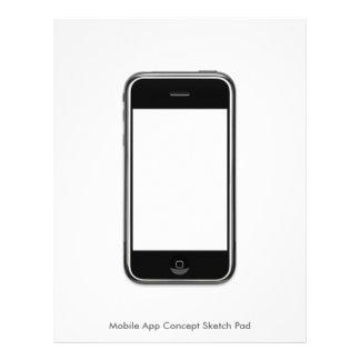 Mobile App Concept Sketch Pad, Large Customized Letterhead
