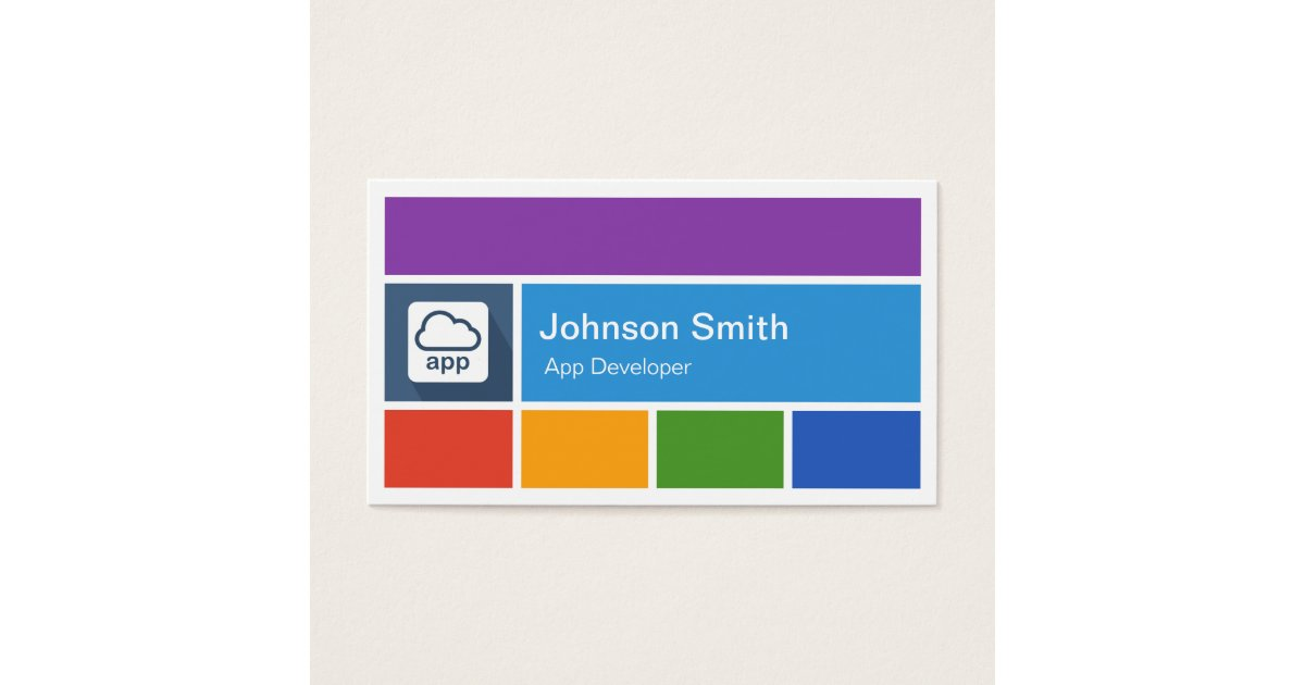 Mobile App Developer - Creative Modern Metro Style Business Card ...