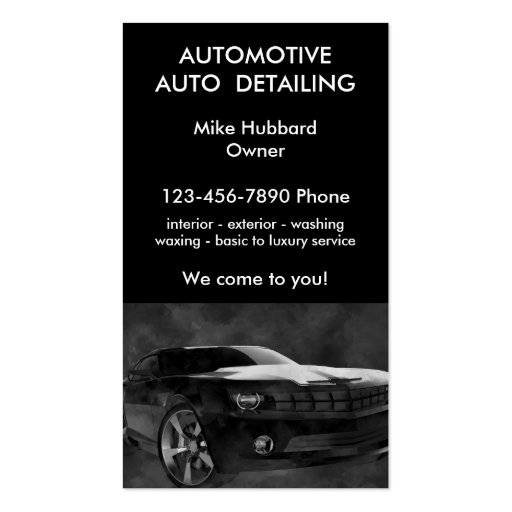 Mobile auto detailing service business card zazzle for Mobile auto detailing business cards