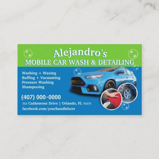 Mobile Car Wash & Detailing - Pressure Washing Tem Business Card