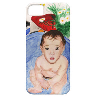 Mobile case: watercolor painting of baby on bath iPhone SE/5/5s case