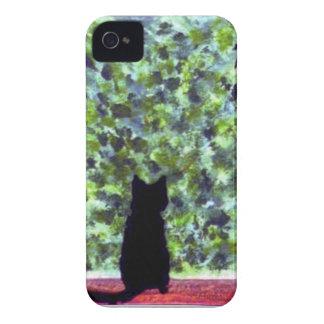 Mobile Cat Art Black Cat Bird Watching! iPhone 4 Case