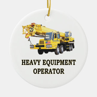 MOBILE CRANE Double-Sided CERAMIC ROUND CHRISTMAS ORNAMENT