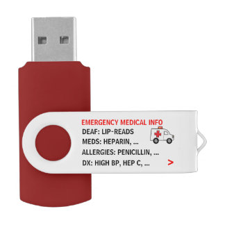 Mobile Emergency Medical Info (Personalized) Swivel USB 2.0 Flash Drive