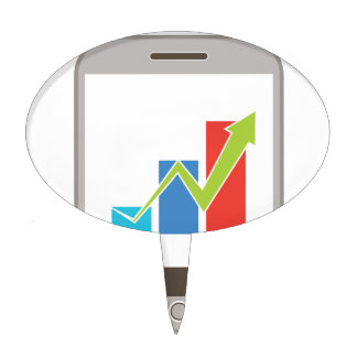 Mobile Finance Chart Icon Cake Topper