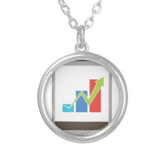 Mobile Finance Chart Icon Round Pendant Necklace