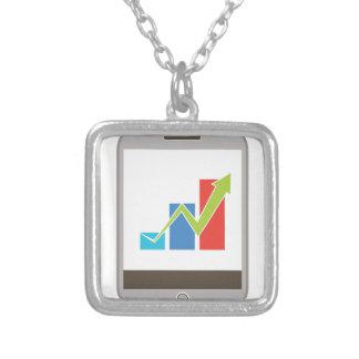 Mobile Finance Chart Icon Square Pendant Necklace