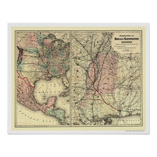 Mobile & Northwestern Railroad Map 1871 Poster