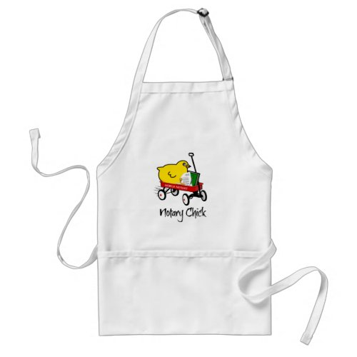 Mobile Notary Chick Riding Little Red Wagon Adult Chef Apron