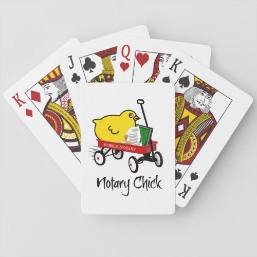 Mobile Notary Chick Riding Little Red Wagon with Notarial Supplies Playing Cards