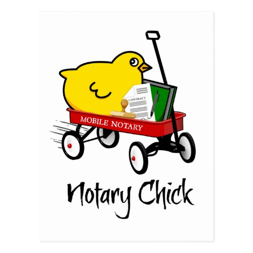 Mobile Notary Chick Riding Little Red Wagon with Notarial Supplies Postcard