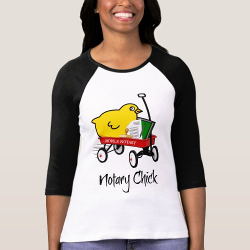 Mobile Notary Chick Riding Little Red Wagon with Notarial Supplies Raglan T-Shirt