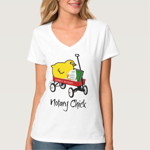 Mobile Notary Chick Riding Little Red Wagon with Notarial Supplies V-Neck T-Shirt
