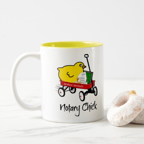 Mobile Notary Chick Riding Little Red Wagon Two-Tone Coffee Mug