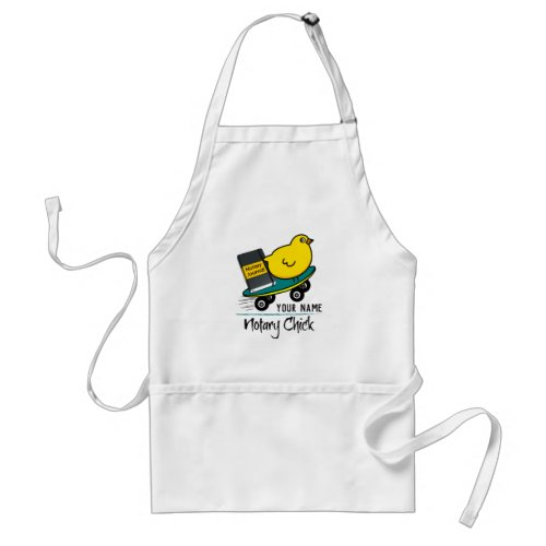 Mobile Notary Chick Riding Skateboard Personalized Adult Apron
