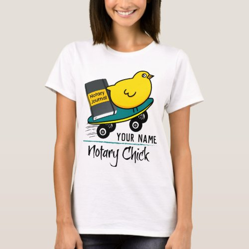 Mobile Notary Chick Riding Skateboard Personalized T-Shirt