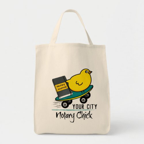 Mobile Notary Chick Riding Skateboard Personalized Grocery Tote Bag