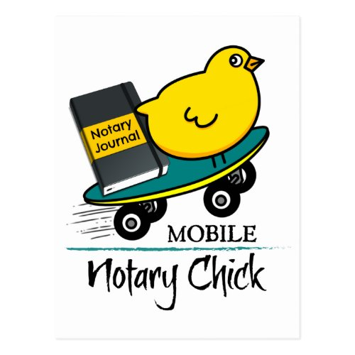 Mobile Notary Chick Riding Skateboard with Notarial Journal Postcard