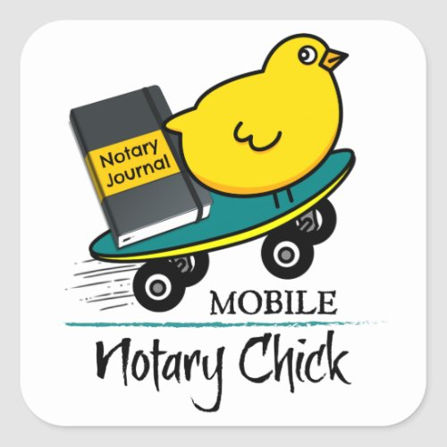 Mobile Notary Chick Riding Skateboard with Notarial Journal Square Stickers