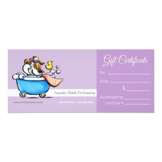Mobile Pet Groomer Shih Tzu Purp Gift Certificate 4x9.25 Paper Invitation Card