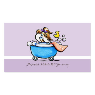 Mobile Pet Groomer Shih Tzu Purple Appointment Business Card