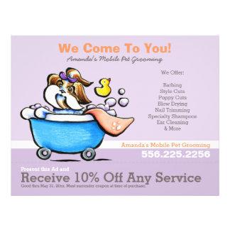 Mobile Pet Groomer Shih Tzu Purple Coupon Ad Flyer