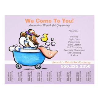 """Mobile Pet Groomer Shih Tzu Purple Tear Sheet 8.5"""" X 11"""" Flyer"""