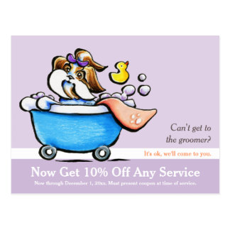 Mobile Pet Grooming Shih Tzu Purple Coupon Mailer Postcard