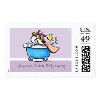 Mobile Pet Grooming Shih Tzu Purple Groomer Postage Stamps