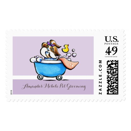 Mobile Pet Grooming Shih Tzu Purple Groomer Postage Stamps