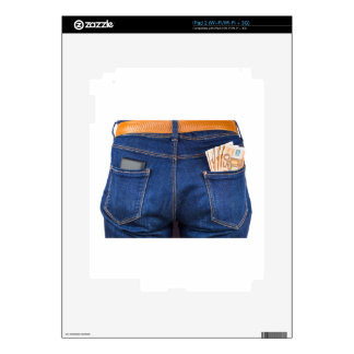 Mobile phone and euro money in blue jeans skins for iPad 2