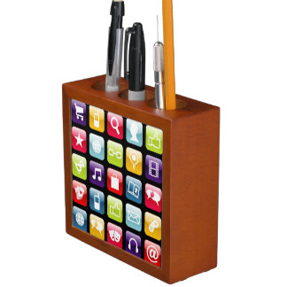 Mobile Phone App Icons Pattern Pencil Holder