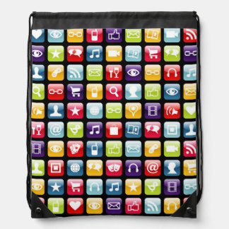 Mobile Phone App Icons Pattern Drawstring Bags