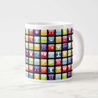 Mobile Phone App Icons Pattern Giant Coffee Mug