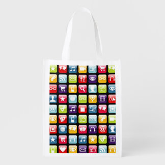 Mobile Phone App Icons Pattern Grocery Bag