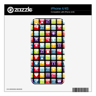 Mobile Phone App Icons Pattern iPhone 4 Skins