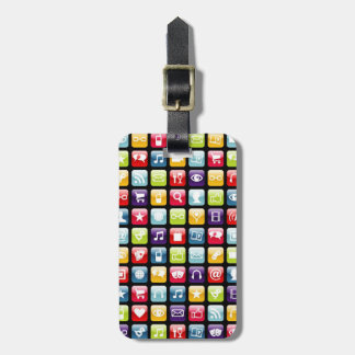 Mobile Phone App Icons Pattern Travel Bag Tag
