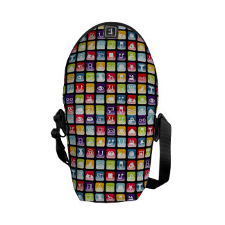 Mobile Phone App Icons Pattern Messenger Bag