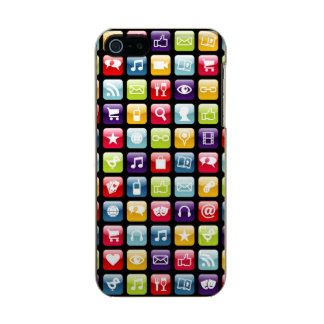 Mobile Phone App Icons Pattern Metallic iPhone SE/5/5s Case