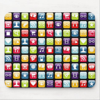 Mobile Phone App Icons Pattern Mouse Pad