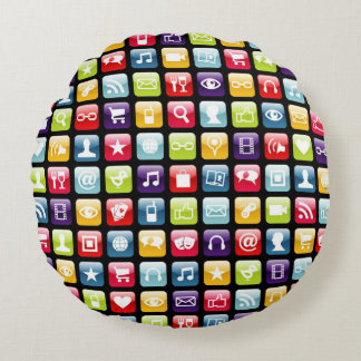 Mobile Phone App Icons Pattern Round Pillow