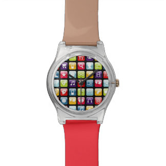 Mobile Phone App Icons Pattern Wristwatches