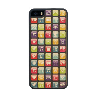 Mobile Phone App Icons Pattern Wood iPhone SE/5/5s Case