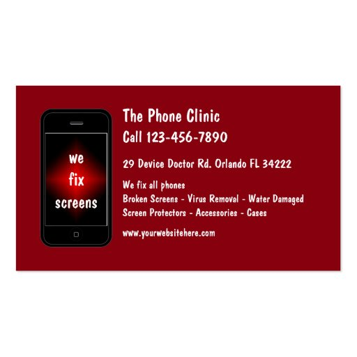 Mobile phone repair business card zazzle for Cell phone repair business cards