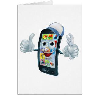 Mobile phone repair character greeting card