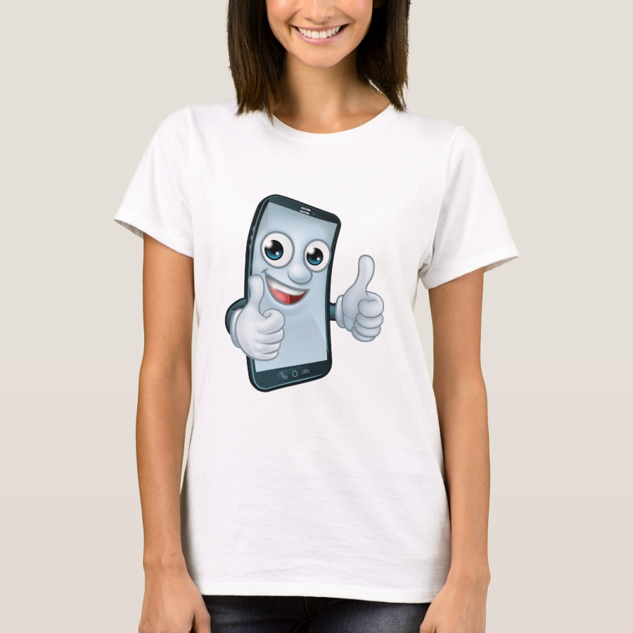 Mobile Phone Thumbs Up Cartoon Mascot T-Shirt - Best Selling Long-Sleeve Street Fashion Shirt Designs