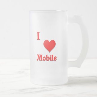 Mobile -- Red Frosted Glass Beer Mug