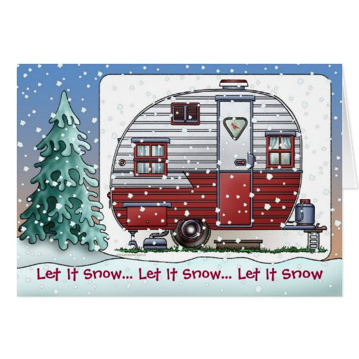 Mobile Scout Camper Trailer Holiday Cards