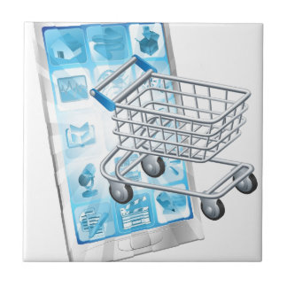 Mobile shopping app concept ceramic tile